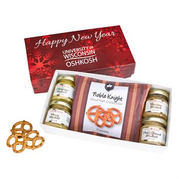 Gourmet Mustard Set with Pretzels in Gift Box- Personalization Available