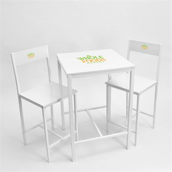 Indoor High Bar Table And Chair Set White-Personalization Available