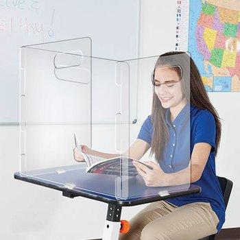 Lightweight 3-Panel Desk Shield With Handle
