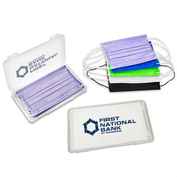 5 Color Mask Set in Clear Frosted Case with Antimicrobial Additive - Personalization Available