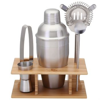 Stainless Steel Shaker Set In Bamboo Stand- Personalization Available