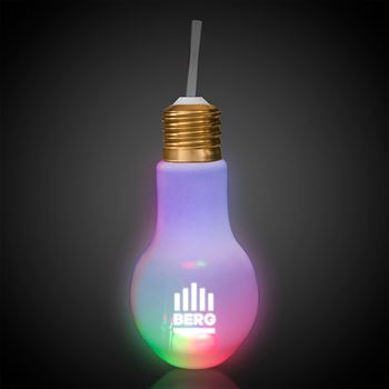 LED Light Bulb Cup with Straw 16 oz.