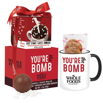 Mrs. Fields Mug and Cookies with Hot Chocolate Bomb Gift Set- Personalization Available