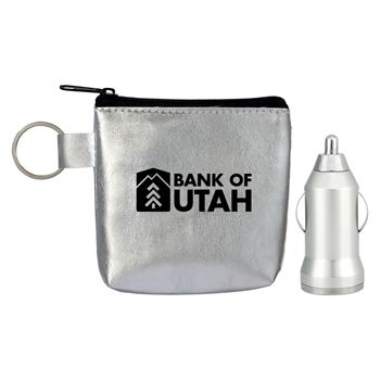 Metallic Car Charger Techie Pouch