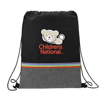 Rainbow Stripe RPET Drawstring Bag - Personalization Available
