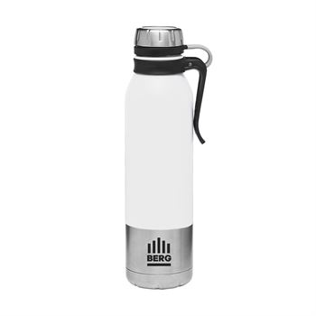 Double Wall Stainless Steel Vacuum Bottle with Clip Handle And Rubber Tether