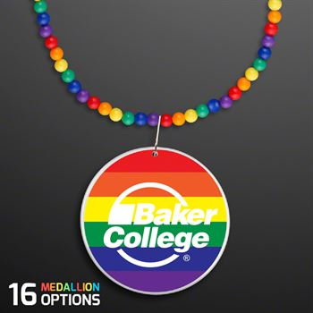Rainbow Beads Necklace With Medallion