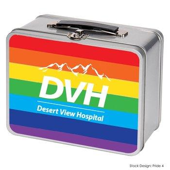 Rainbow Stripe Pride Vintage Tin Lunch Box