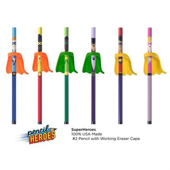 Super Heroes Pencil With Cape Eraser