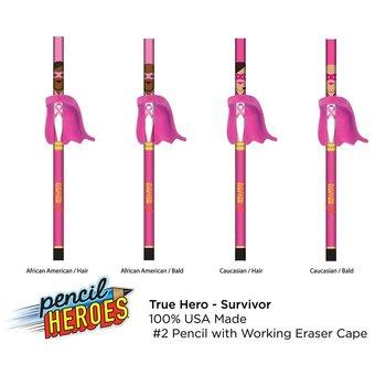 Breast Cancer Survivor Pencil With Cape Eraser