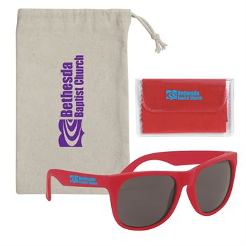 Rubberized Sunglasses With Microfiber Cloth And Pouch