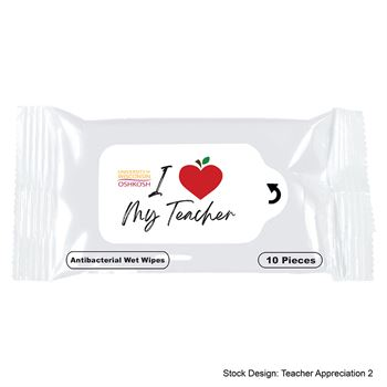 Teachers Appreciation Antibacterial Wet Wipe Packet - Full Color