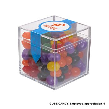 Teachers Appreciation Cube Shaped Acrylic Container With Candy - Chocolate Littles