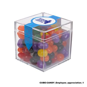 Teachers Appreciation Cube Shaped Acrylic Container With Candy - Metallic Milk Chocolate Buttons