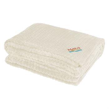 White Embroidered Cozy Plush Blanket - Personalization Available