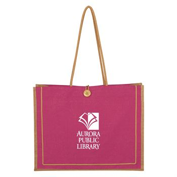 Large Pink Jute Tote Bag - Personalization Available