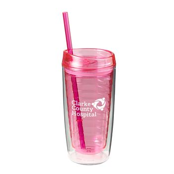 Pink Tumbler With Straw 16 Oz - Personalization Available