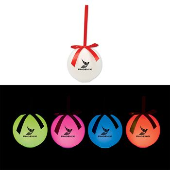 Led Ornament With Red Ribbon - Personalization Available