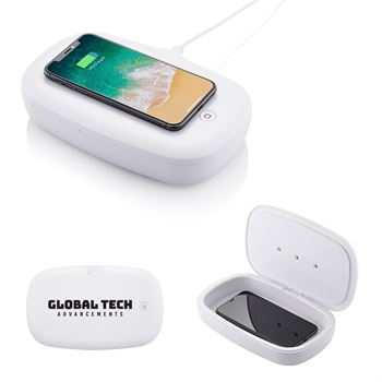 2-in-1 UV Phone Sanitizer with 5W Wireless Charging Pad - Personalization Available