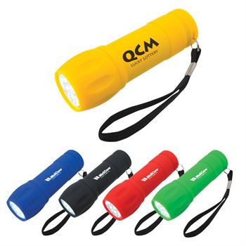 Rubberized Torch Light With Strap - Personalization Available