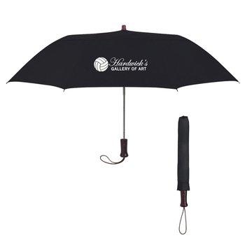 "44"" Arc Telescopic Folding Wood Handle Umbrella - Personalization Available"