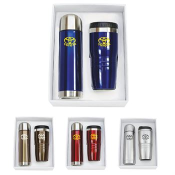 Stainless Steel Thermos & Tumbler Gift Set - Personalization Available