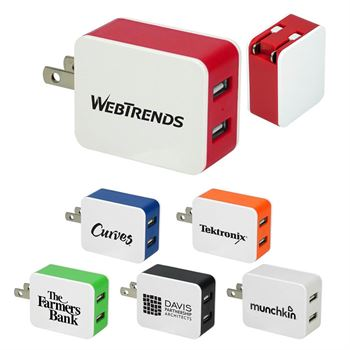 UL® 2-Port USB Folding Wall Charger - Personalization Available