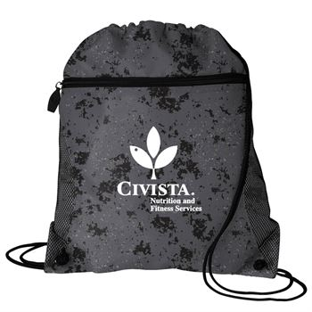 Distressed Mesh Pocket Drawcord Backpack - Personalization Available