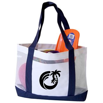 Color Trim Mesh Open Tote - Personalization Available
