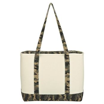 Camo Canvas Kooler Tote Bag - Personalization Available