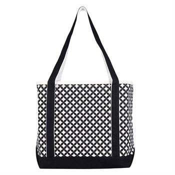 Curved Diamond Canvas Tote Bag - Personalization Available