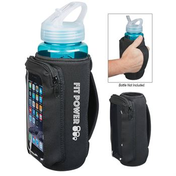 Neoprene Bottle Kooler With Phone Holder - Personalization Available