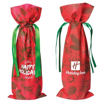 Holiday Non Woven Wine Bag - Personalization Available