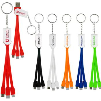 Swivel 3-in-1 Keychain Cable with Type C USB