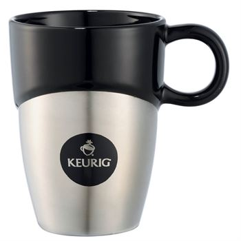 Double Dipper Ceramic Mug with Stainless Steel Base 11-oz. - Personalization Available
