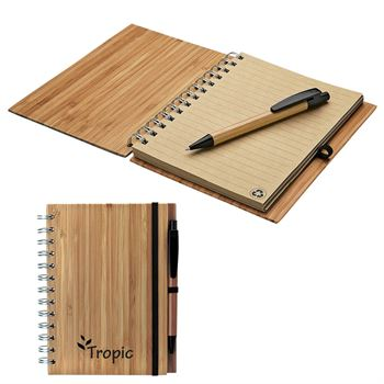 Albany Bamboo Notebook & Pen - Personalization Available