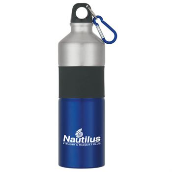 Two-Tone Aluminum Bottle With Rubber Grip- 25 oz.