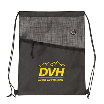 Tonal Heathered Non-Woven Drawstring Backpack - Personalization Available