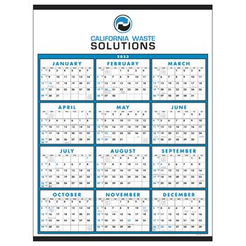Span-A-Year Non-Laminated 2020 Time Management Wall Calendar Blue Grid - Personalization Available