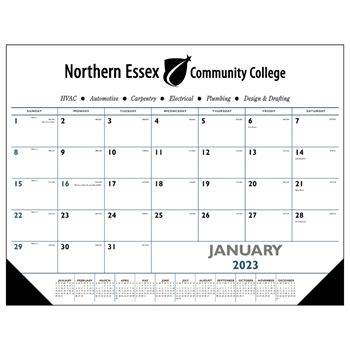 Blue & Black 2021 Desk Pad Calendar With Vinyl Corners