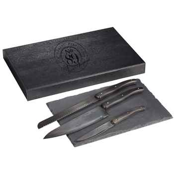 Laguiole® Black Kitchen Knife and Cutting Board Set - Personalization Available