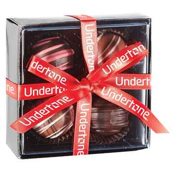 4-Piece Elegant Belgian Chocolate Truffle Box - Personalization Available