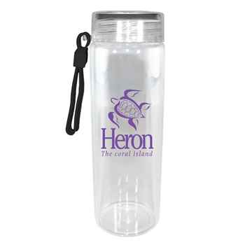 Durable Clear Glass Bottle with Screw-On Lid 20-Oz. - Personalization Available