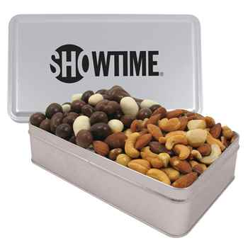 2 Way Rectangle Tin - Large with Bridge Mix & Mixed Nuts - Personalization Available