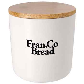 Ceramic Container with Bamboo Lid 17-Oz. - Personalization Available