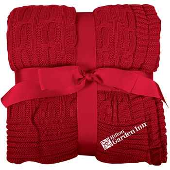 Cable Knit Blanket - Embroidered Personalization Available