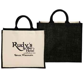 Metallic Jute Cotton Canvas Shopper Tote - Personalization Available