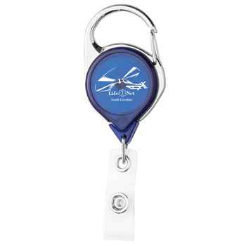 Carabiner Badge Reel with Label - Full-Color Digital Personalization Available
