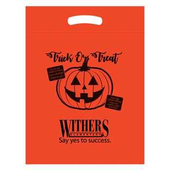 Halloween Trick or Treat Plastic Die-Cut Bag - Orange - Personalization Available