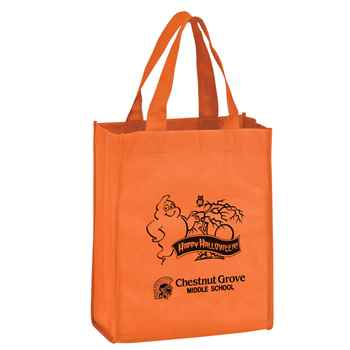 Halloween Orange Ghost Non-Woven Tote - Small - Personalization Available